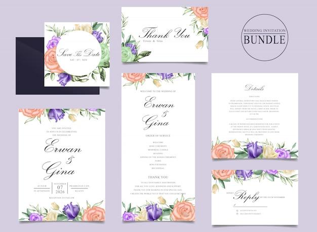 Свадебный дизайн пригласительного билета с акварелью цветочным и листьями шаблона Premium векторы
