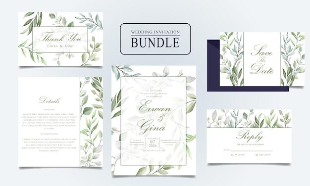 Красивая свадебная пригласительная открытка с акварельными листьями Premium векторы