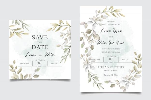 水彩緑結婚式招待状テンプレートカード Premiumベクター