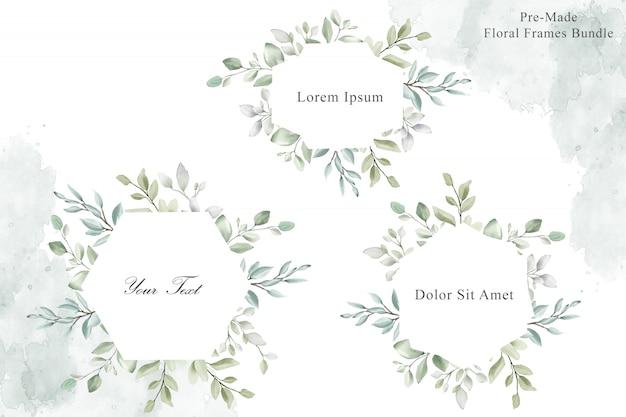 Акварель свадебные рамки многоцелевой коллекция шаблонов Premium векторы