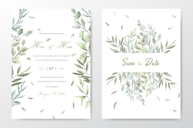 Элегантная акварель листва свадебные приглашения шаблон карты Premium векторы