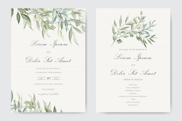 Красивая акварель свадебный шаблон с листвой Premium векторы