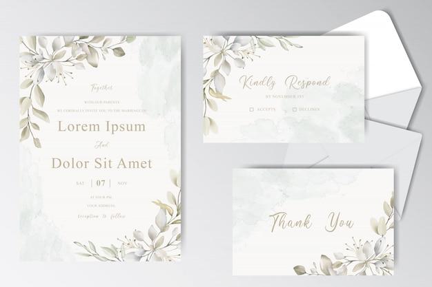 Красивая акварель свадебная стационарная коллекция шаблонов с листвой Premium векторы