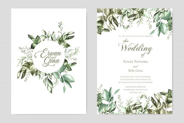 水彩の結婚式の招待状のテンプレートカードのデザイン Premiumベクター