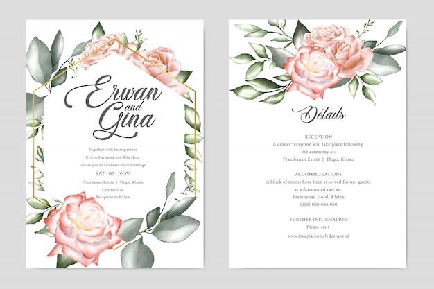 水彩の結婚式の招待状のテンプレートカードテンプレート Premiumベクター