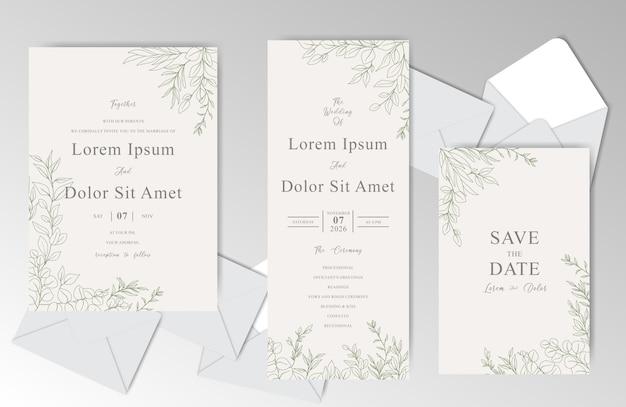 Элегантный ручной обращается свадебные приглашения шаблон с красивыми листьями Premium векторы