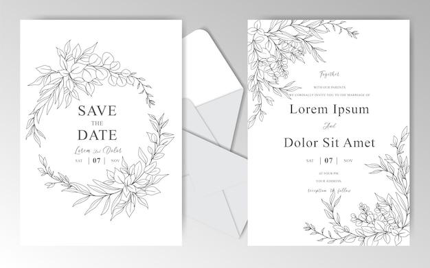 美しい葉を持つエレガントな手描きの結婚式の招待カードテンプレート Premiumベクター