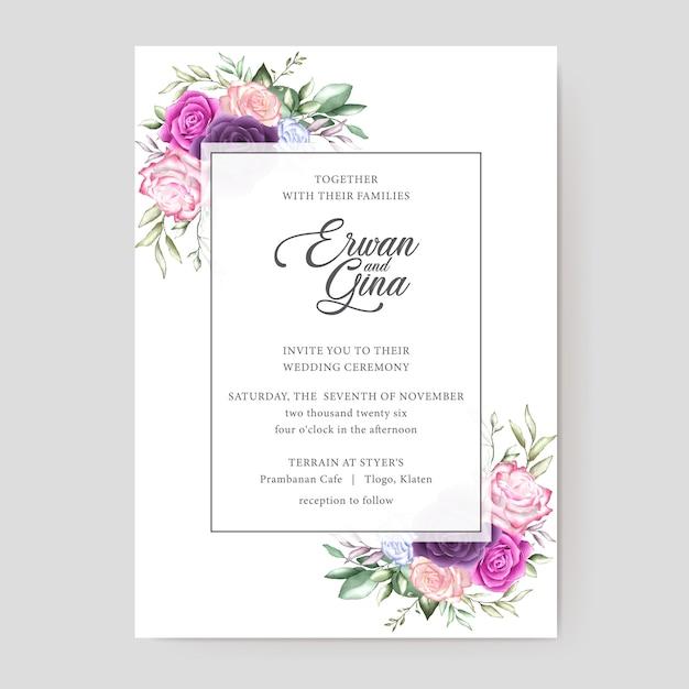 水彩結婚式招待状テンプレートカード Premiumベクター
