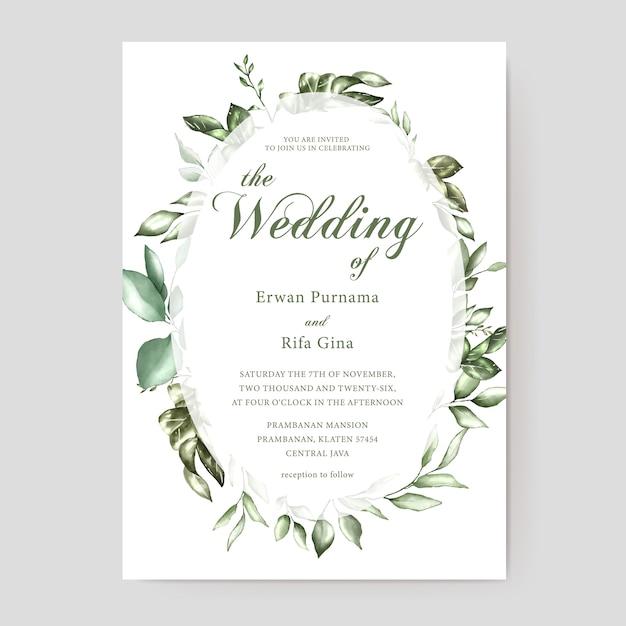 花の結婚式の招待状カードのテンプレート Premiumベクター