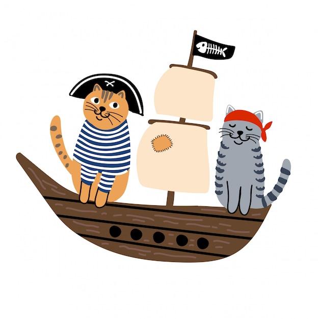 船の上の猫の海賊 Premiumベクター