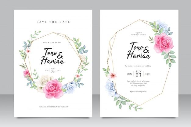 Элегантный шаблон свадебной открытки с красивыми розовыми розами и листьями Premium векторы