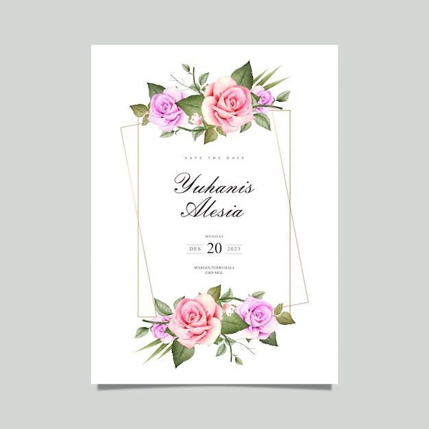 花のフレームの水彩画のウェディングカード Premiumベクター