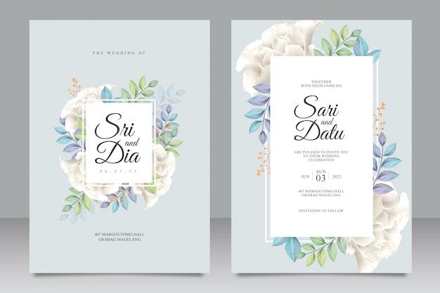白いバラの花束と美しい結婚式の招待状のテンプレート Premiumベクター