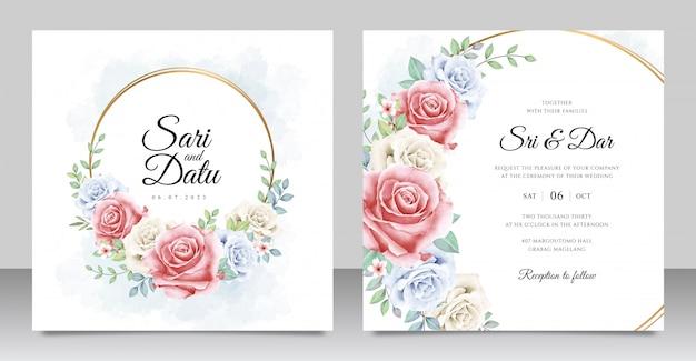 フローラルリース結婚式の招待カードテンプレート Premiumベクター