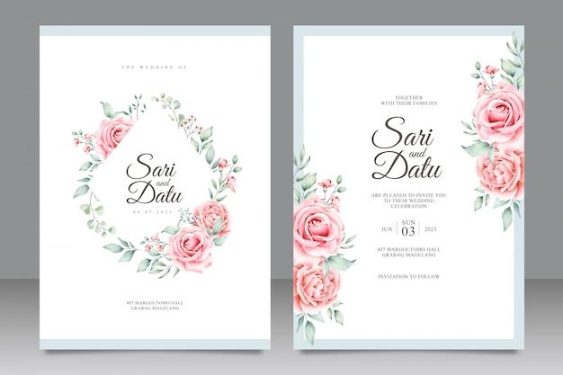 美しい花の水彩画の結婚式招待状カードのテンプレート Premiumベクター