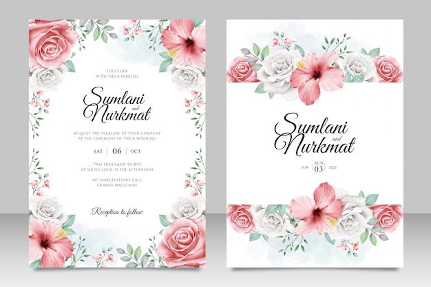 Свадебная пригласительная открытка с цветами и листьями акварель Premium векторы