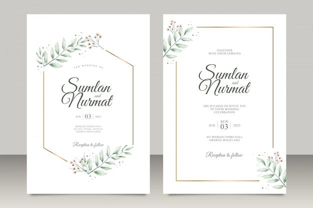 モダンな葉の水彩入り結婚式招待状 Premiumベクター