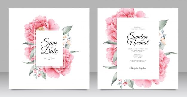 美しい牡丹の結婚式の招待状 Premiumベクター