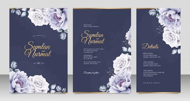 ネイビーブルーの背景に牡丹アクアレルとエレガントな結婚式の招待カードテンプレート Premiumベクター