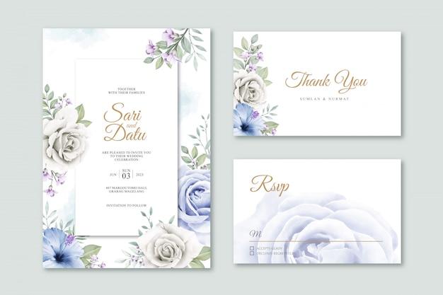 Элегантная свадебная открытка с цветами и листьями акварель Premium векторы