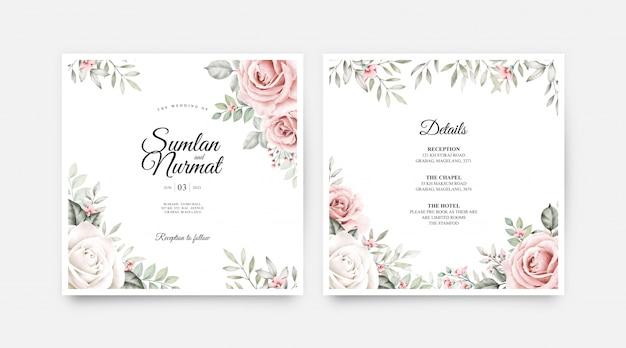 結婚式のカードは、花と葉の水彩画とテンプレートを設定 Premiumベクター