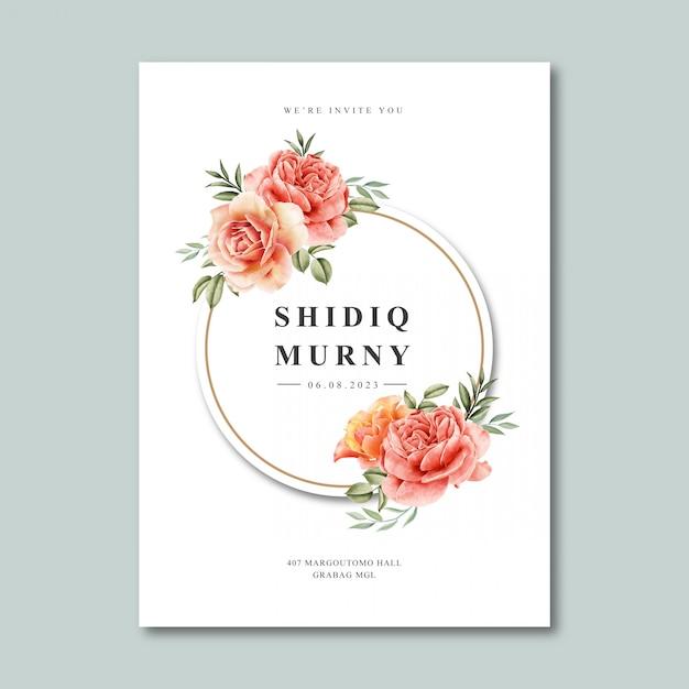 花輪フレーム水彩画と結婚式カードテンプレート Premiumベクター