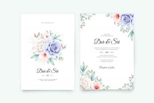 Элегантный свадебный набор шаблонов с красивой цветочной акварелью Premium векторы