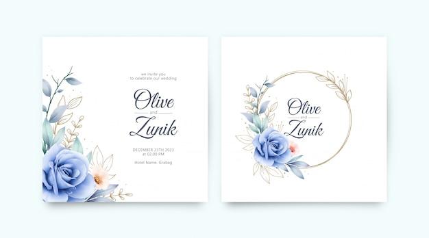 バラの水彩画と金の葉の結婚式招待状のセット Premiumベクター