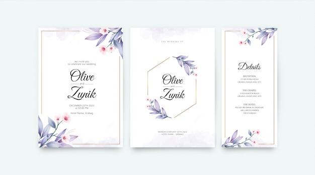 結婚式のカードは、花と葉の水彩画の装飾とテンプレートを設定 Premiumベクター