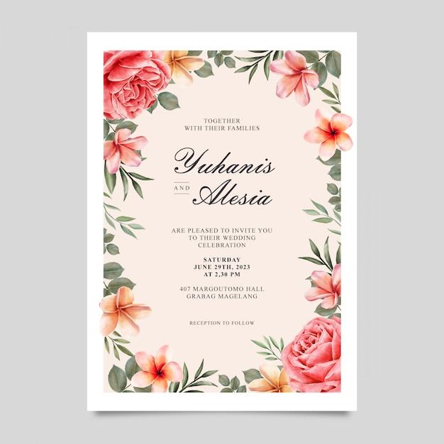 Элегантный шаблон свадебного приглашения Premium векторы