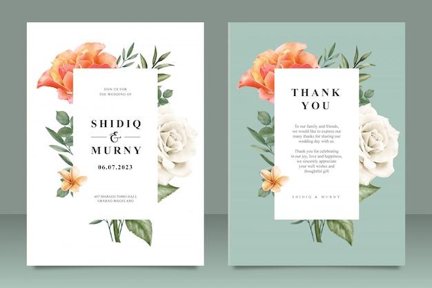 花のフレームマルチ目的で美しい結婚式カードテンプレート Premiumベクター