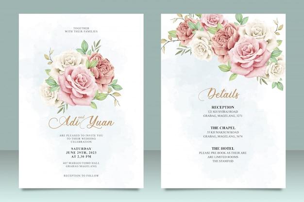 Красивый шаблон свадебной открытки с дизайном цветов и листьев Premium векторы