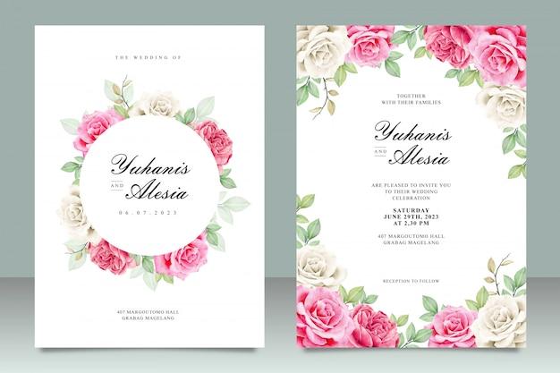 バラの花を持つ結婚式カードセットテンプレート Premiumベクター
