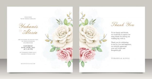 Свадебное приглашение с цветочной акварелью Premium векторы