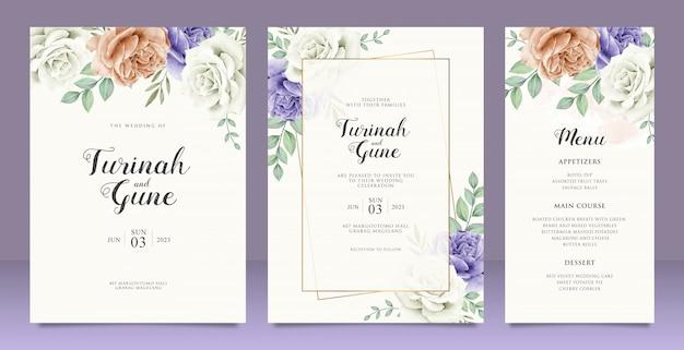美しい結婚式カード花の庭の招待カード結婚 Premiumベクター