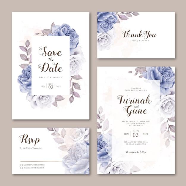 バラの水彩画でかわいい結婚式招待状カードのテンプレート Premiumベクター