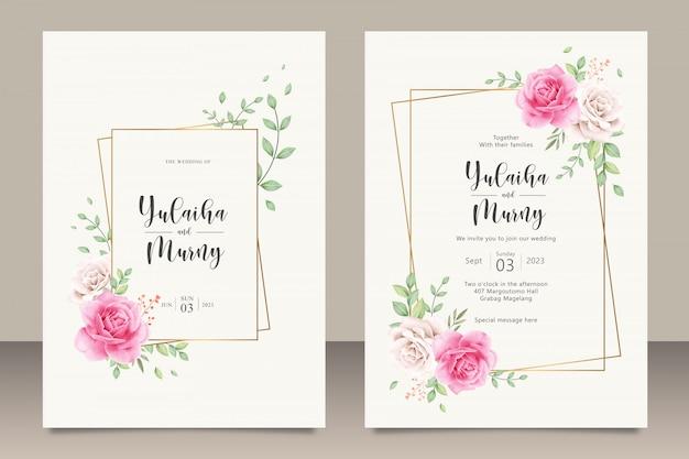 ピンクのバラの花を持つエレガントな結婚式の招待カードテンプレート Premiumベクター