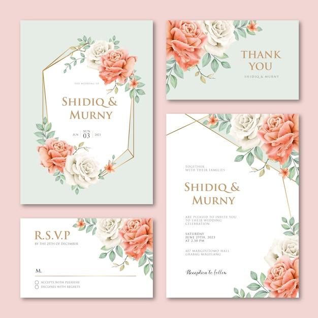 美しい牡丹の花を持つ幾何学的な結婚式の招待カードテンプレート Premiumベクター
