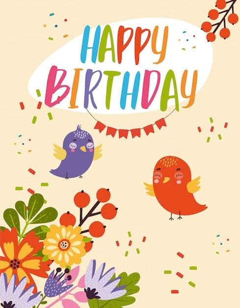 鳥の誕生日カード 無料ベクター
