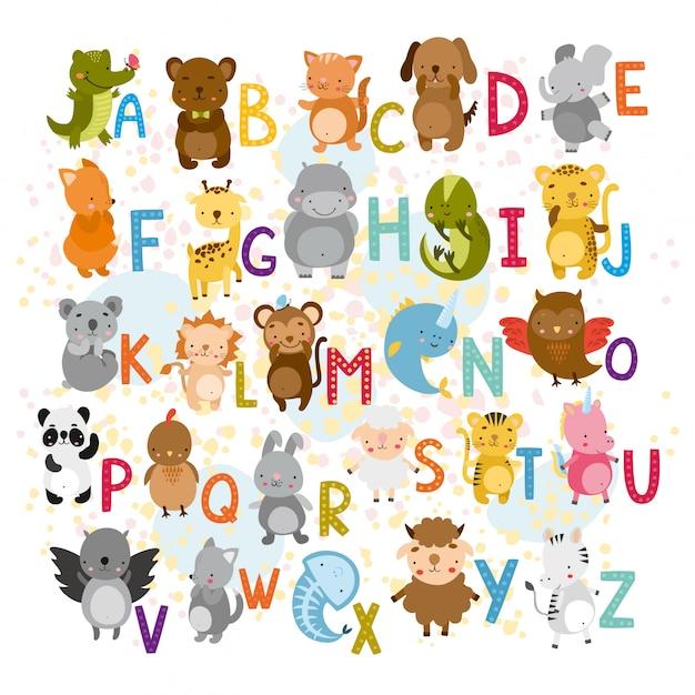 Векторный алфавит с милыми животными Бесплатные векторы