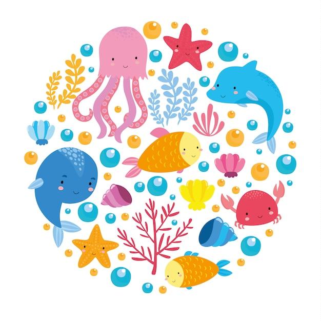 Морской набор с милыми животными Бесплатные векторы