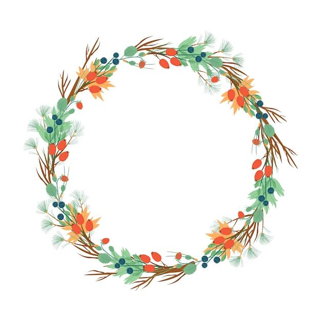 Венок из ягод и хвои. новогодний или осенний венок Бесплатные векторы