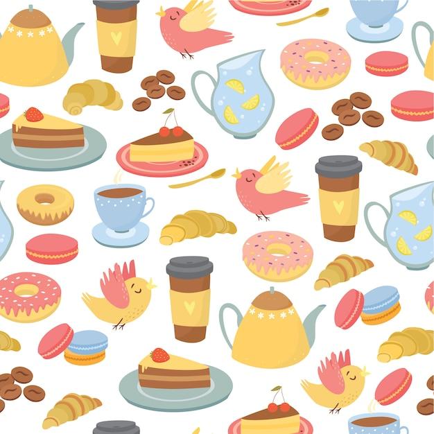Бесшовные, кофейные мотивы, чай, сладости, упаковка для пекарни Бесплатные векторы