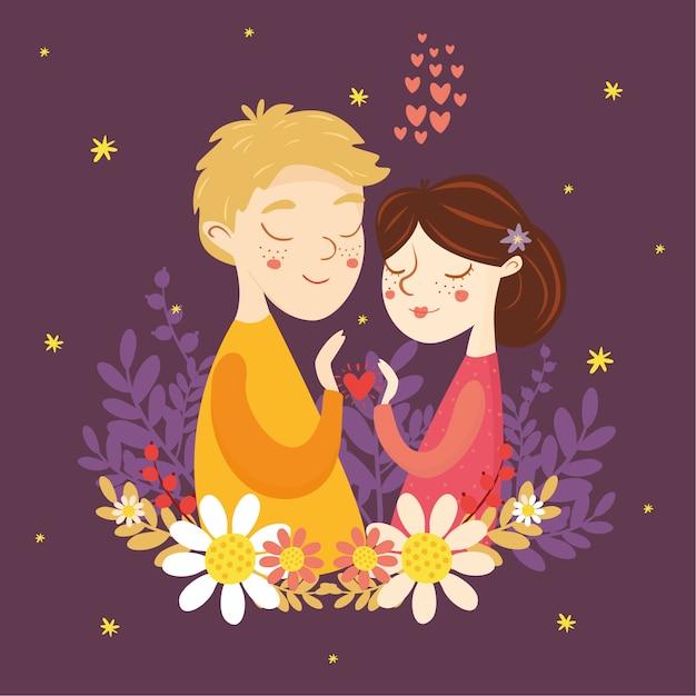 バレンタインのグリーティングカード。愛のカップル。少年と少女、心、愛 無料ベクター
