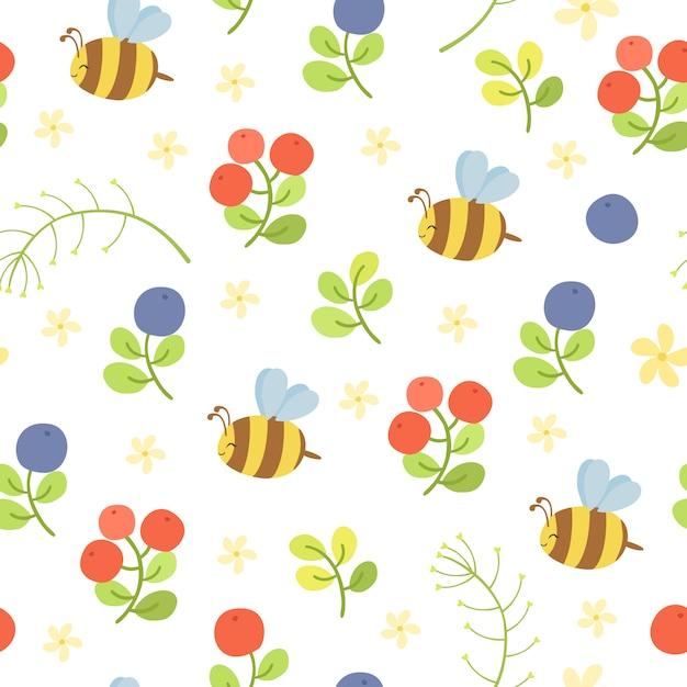 Бесшовный узор вектор с пчелами и ягодами Бесплатные векторы