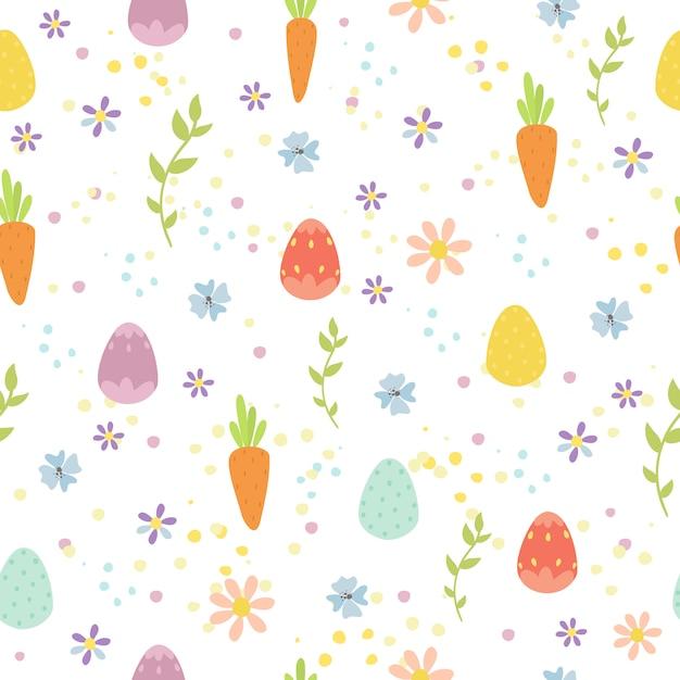 卵とニンジンとイースターのシームレスパターン 無料ベクター