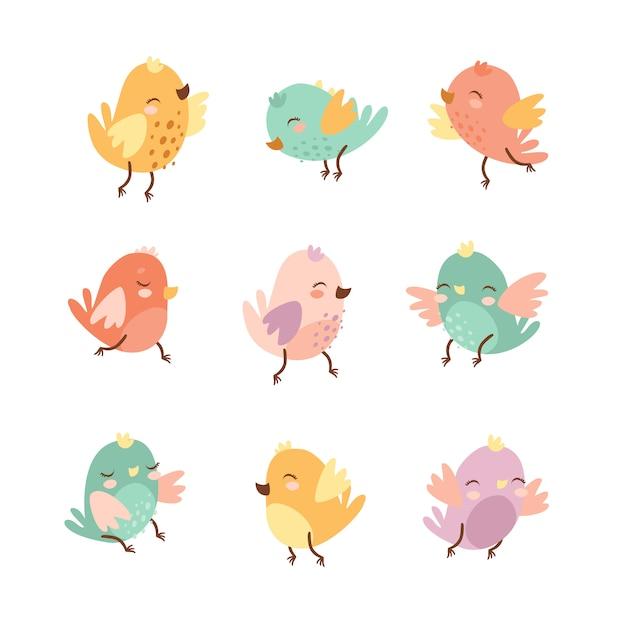 Набор милых каракули птиц Бесплатные векторы