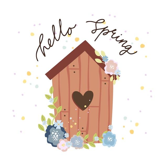 こんにちは春グリーティングカード、心の巣箱 無料ベクター
