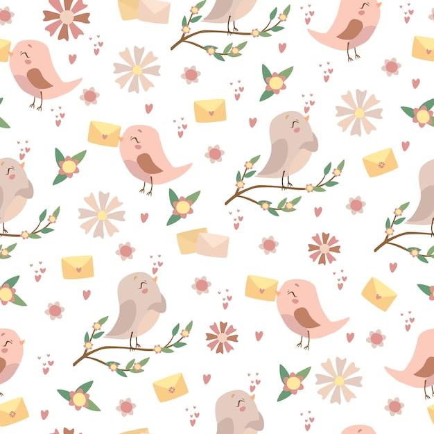 Романтическая картина птиц Бесплатные векторы