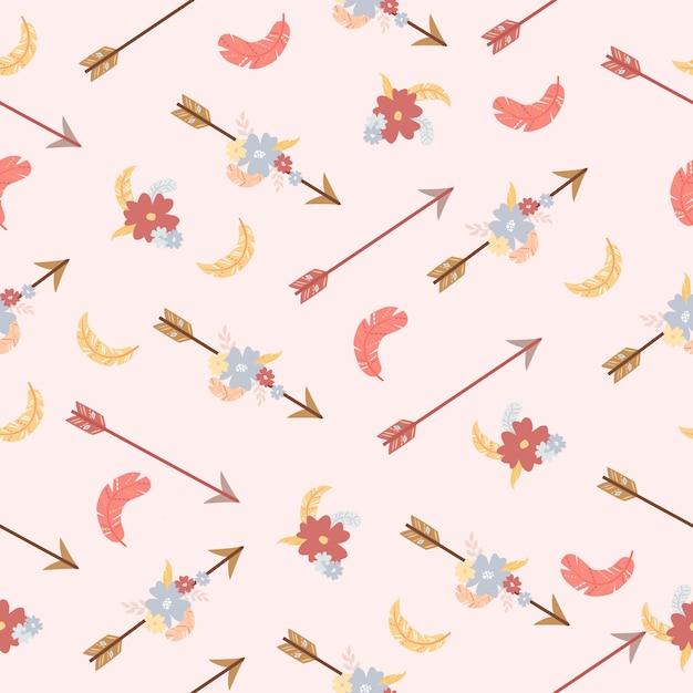 Стрелки узор перья цветы Бесплатные векторы